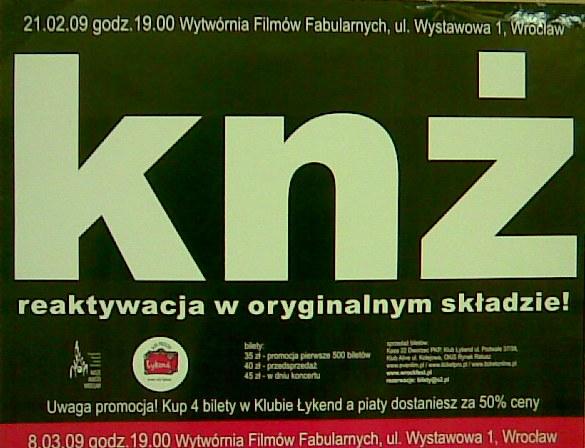 Kazik na żywo - Reaktywacja KNŻ w oryginalnym składzie. Bilety, koncerty, trasa, utwory